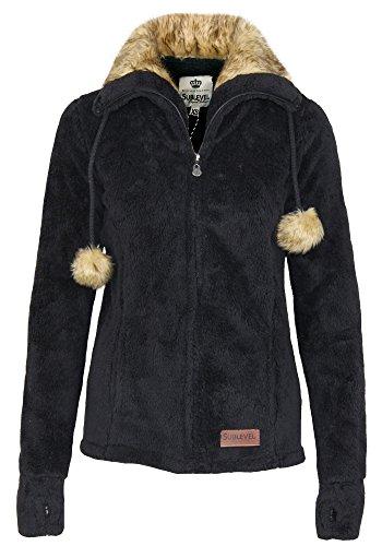 Sublevel Damen Teddy Fleecejacke mit Fell Kragen und Bommeln | Warme Flauschjacke mit weitem Kragen, Größe:M, Farbe:Black