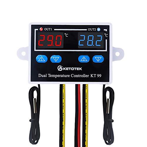KETOTEK Temperaturregler mit 2 fühler AC 230V 220V, Digitaler Temperaturschalter, Dual Thermostatregler Heizung Kühlung Temperatursteuerung Doppelausgang Direkt für Inkubator