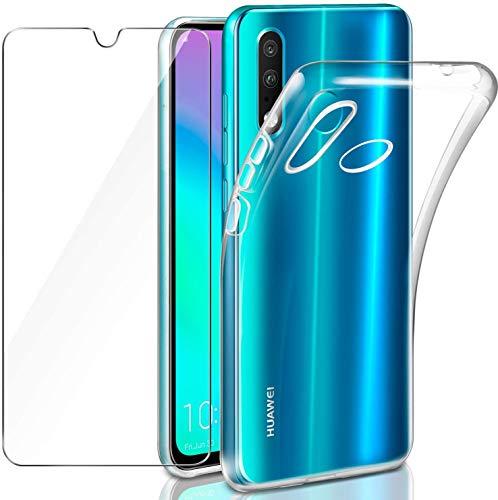 LeathLux Hülle Kompatibel mit Huawei P30 Lite / P30 lite New Edition Hülle mit Panzerglas, Durchsichtig Hülle Transparent Silikon TPU Schutzhülle Premium 9H Gehärtetes Glas