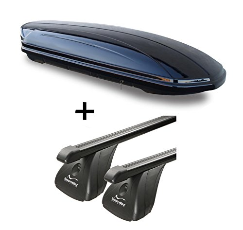 Dachbox VDPMAA320 320Ltr abschließbar schwarz + Stahl Dachträger Aurilis Original kompatibel mit Hyundai i30 III (Schrägheck 5Türer) ab 2017