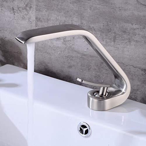 YHSGY Küchenarmatur Einhand-Waschtischmischer Zur Standmontage Bad Messing Nickel Gebürstet Kalt- Und Warmwasser-Waschtischarmatur