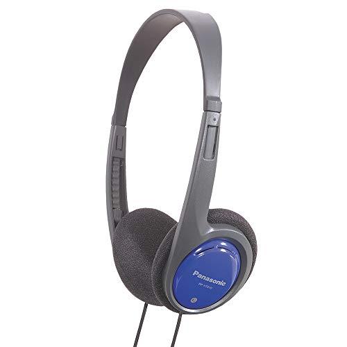 Panasonic RP-HT010E-A Kopfhörer blau (besonders leicht und angenehm zu tragen) & Amazon Basics - 5-Wege Aux Audio-Splitter für Kopfhörer, Pink