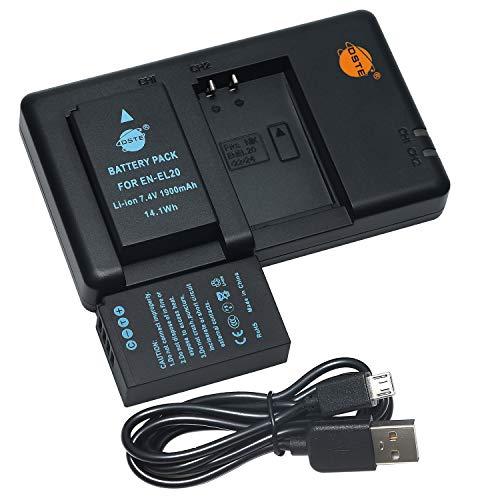 DSTE 2PCS EN-EL20 EN-EL20a(1900mAh/7.4V) Batería Cargador Compatible para Nikon 1...
