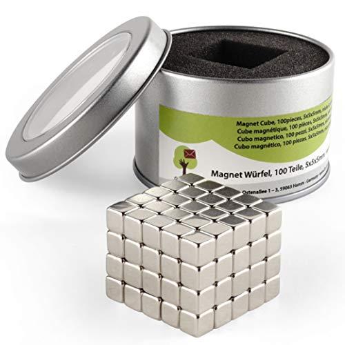 OfficeTree® 100 Mini imanes de neodimio 5x5x5 mm – Sujeción Extra Fuerte para Pizarra Blanca, Pizarra magnética, tableros, Vidrio, frigorífico