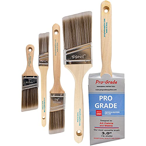 Pro Grade - Paint Brushes - 5 Pack Variety Angle Paint Brushes