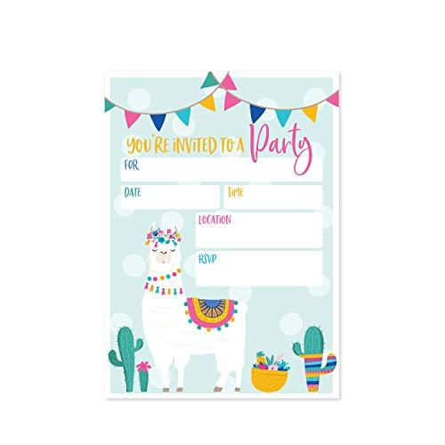 Llama Fill in The Blank Party Invitation / 25 Llama Birthday Invitations and Envelopes/Alpaca Invitation/Llama Baby Shower Invitation/Fiesta Birthday Invitation