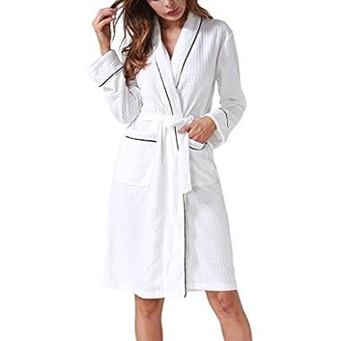 Costyleen Women Men Hotel Spa Waffle Weave Kimono V Neck Sleepwear Bathrobe White M