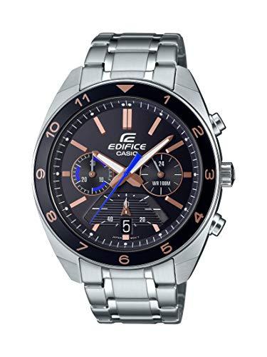Casio Edifice - Reloj de cuarzo para hombre con correa de acero inoxidable, color plateado, 21,7 (Modelo: EFV-590D-1AVCR)