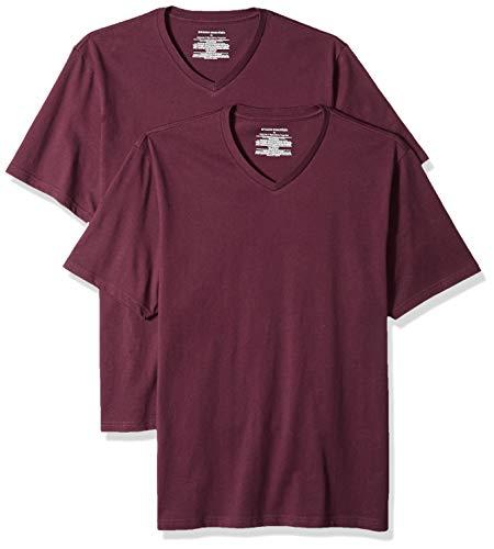 Amazon Essentials - Camiseta de manga corta de cuello de pico y corte holgado para hombre, paquete de 2 unidades, Rojo (Burgundy Bur), US L (EU L)