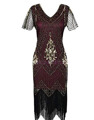 ZSM 1920 Vestido de la Aleta del Vintage Mujeres Lentejuelas con Cuentas Fringe Art Deco con el Vestido Manga for Prom Party YMIK (Color : Winered, Size : XL)