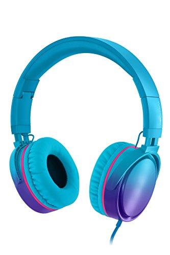 Rockpapa Grade Opvouwbare HiFi hoofdtelefoon hoofdtelefoon met microfoon voor computer PC Cellphones Tablets iPod iPad MP3/4 CD/DVD in de auto/het vliegtuig Geleidelijk blauw