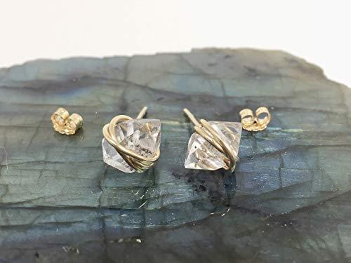 Herkimer Diamond Quartz Crystal, Large Size, Stud Earrings, 14k Gold Filled, Herkimer Jewelry, Gift For Her, April Birthstone