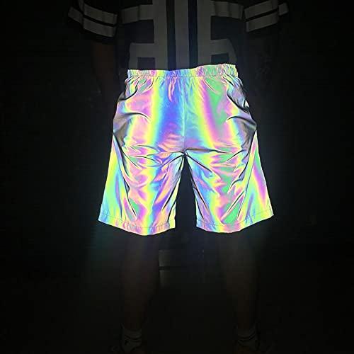 Yajun Pantalones Cortos Reflectantes Coloridos en 3D para Hombre Bañadores de Verano para la Noche Boardshorts Multicolores Casuales Hip Hop Traje de Baño,M