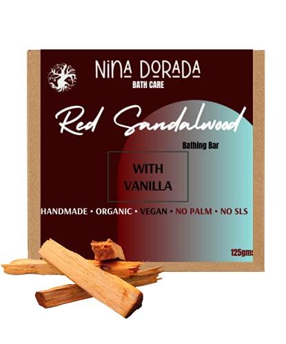 Nina Dorada Red Sandalwood With Vanilla Luxurious Bathing Bar | Cold Process Soap | Palm Free | Handmade | Nourishing and Moisturizing | Made in India |125 gms