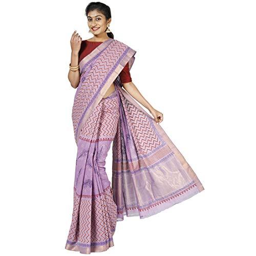 Kalanjali Women Mangalagiri Cotton Saree With Unstitched Blouse Piece (INVALID DATA_Purple)