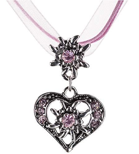 Trachtenkette elegantes Herz mit Strass und Edelweiss Anhänger Trachtenschmuck Kette für Dirndl und Lederhose Damen in vielen Farben (Rosa)