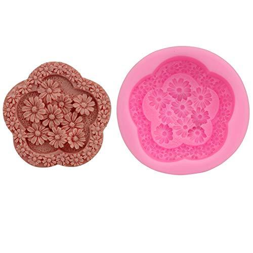 Haodou. Molde de Silicona para decoración de Tartas con diseño Floral para gelatina, Chocolate, Galletas, Color Rosa