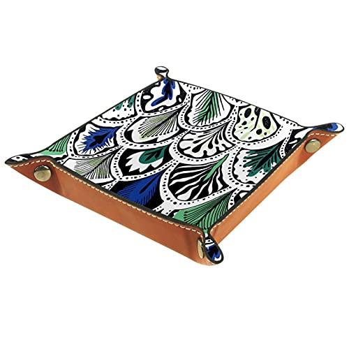 Caja de bandeja de valet Boho de pavo real para Jewlery Key Cosméticos Gafas Auriculares-Oficina/Uso en el Hogar