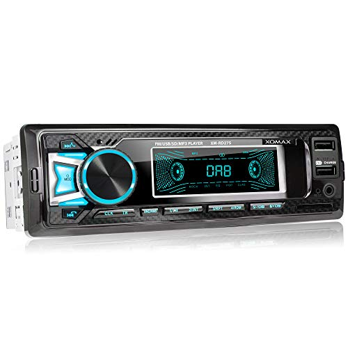 XOMAX XM-RD275 Autoradio mit DAB+ Tuner und Antenne I FM RDS I Bluetooth Freisprecheinrichtung I USB, SD, Aux I 7 Farben I 1 DIN