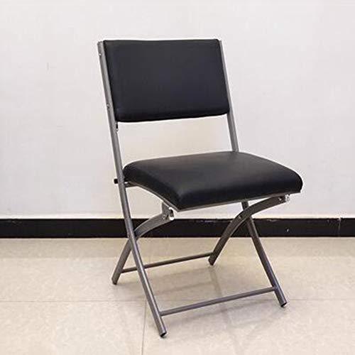 WGXX Klappstuhl gepolstert Leder Klappstuhl, robuster Stahlrahmen, einfacher Konferenzstuhl for Besucher Sitzung, tragbarer Bürostuhl (Color : Black, Size : 42x40x46)