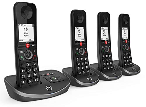 BT Advanced Cordless Home Phone with 100 Percent Nuisance Call Blocking and Answering Machine, Quad Handset Pack, Black