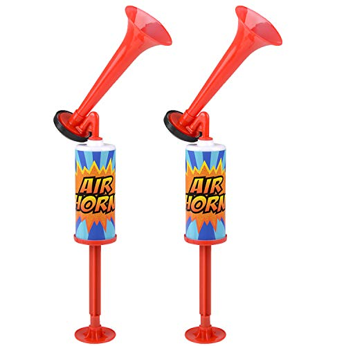 Kicko Party Air Horns with Hand Pumps - 2 Pack - for Celebration Noisemaker, Cheerleading Contest, Musical Play, Fun Prize - 12 Inches