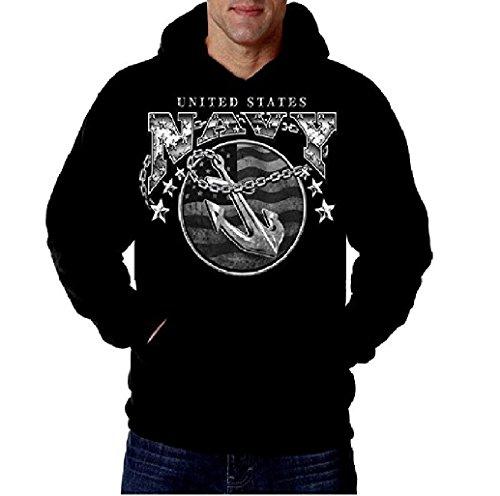 US Navy Men's Hoodie Sweatshirt Anchor Naval USN Hooded Navy Apparel Black, X-Large