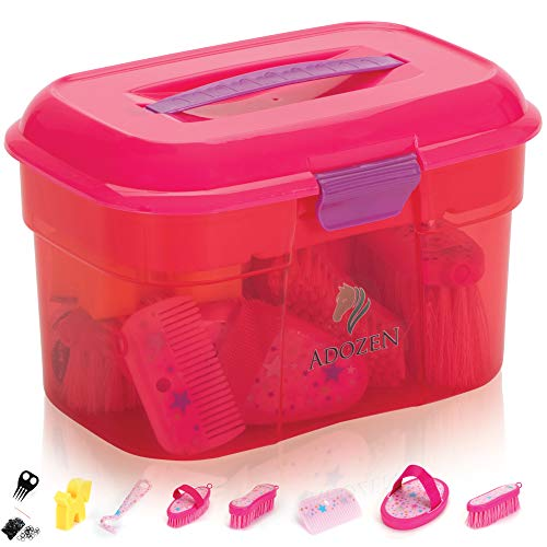 Adozen Pferde-Putzbox XL für Kinder | 9-Teilig befüllt | Soft Touch Antirutschgriffe | Rosa mit Sternchen