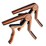 Guitar Capo- 2 Pack Capo for Acoustic Guitar- Electric and Classical Guitar Capo 6 String- Capo for Ukulele, Bass Guitar and Banjo- Wooden Color (Brown)