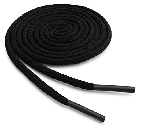OrthoStep Round Dress Thin Black 36 inch Shoelaces 2 Pair Pack