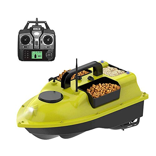 Barco De Cebo De Pesca Rc Buscador De Peces De Carpa Al Aire Libre Motor Doble Mando A Distancia 500m UbicacióN Gps De Lanchas RáPidas De Pesca Con Luz Nocturna, 5200 Mah