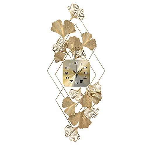 Grandi orologi da parete in metallo, orologio da parete di design stile jazz creativo orologio da parete silenzioso non ticchettio orologio decorazione per soggiorno cucina cucina casa,D'oro,18X44INCH