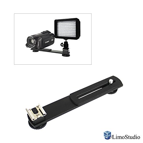 LimoStudio 6.3 inch Straight Camera Flash Bracket 1/4'-20 Screw Hot Shoe Mount for Video Lights, Microphone, Monitor and Camera Accessories, AGG2317