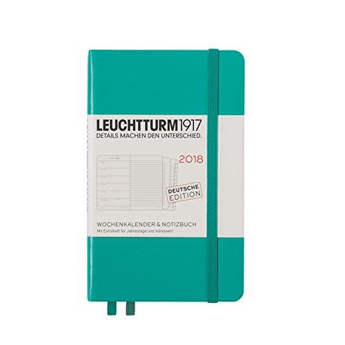 Calendario semanal y cuaderno Leuchtturm1917 2018, en alemán, color Smaragd A6 (bolsillo)