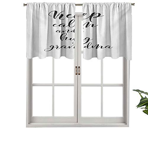 "Hiiiman Cenefas de cortina opacas, paneles de cortina de bolsillo corto para barra con texto en inglés ""Keep Calm Hug Your Grandma"", juego de 2, 137 x 91 cm para cocina y baño"
