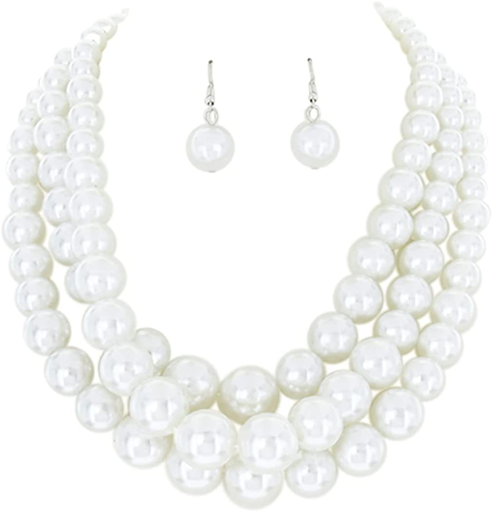 Rosemarie Jubalee Women's Multi Simulated Strand Pearl Necklac Large discharge online shop sale