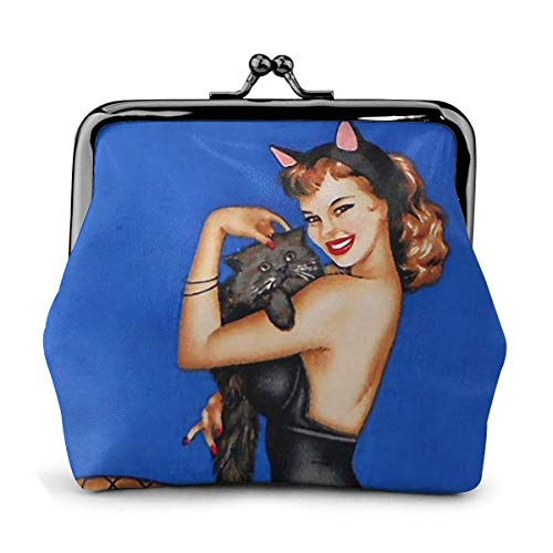 Halloween Sexy Catwoman Kürbiskopf gato Vintage bolsas niñas -Lock cartera hebilla cuero monedero Key Woman Printed