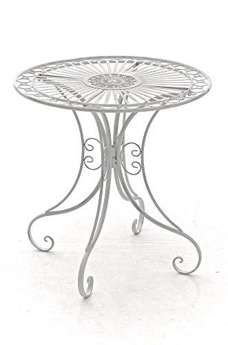CLP Table de Jardin en Fer Forgé Hari - Table de Terrasse au Style Antique - Table Jardin en Fer avec Un Diamètre de Ø 70 cm et Une Hauteur de 7, Couleurs:Antique Blanc