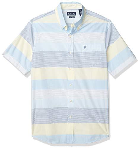 Chaps Men's Regular Fit Short Sleeve Wrinkle Resistant Performance Sportshirt, Blue Stripe, L