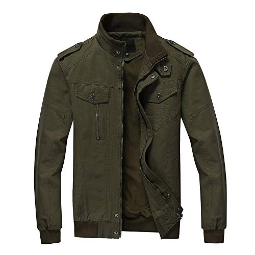 FEDTOSING Mens Bomber Jacket Stylish Windbreaker Men Stand Collar Military Jacket with Shoulder Straps (Army Green M)
