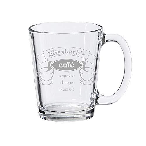 Tasse à café, tasse en verre transparent, personnalisé avec gravure - standard