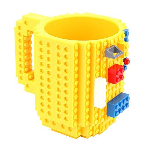 1 pieza de taza de café de bloques de construcción de 12 oz taza de rompecabezas de bloques de construcción DIY para diseño de bloques Lego-amarillo
