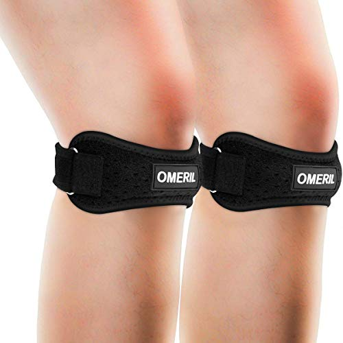 OMERIL 2 Pack Knee Brace, Knee Strap Brace with Silicone Insert, Pain Relief Patella Stabilizer Support for Hiking, Soccer, Basketball, Running, Jumpers Knee, Tennis, Tendonitis, Volleyball & Squats