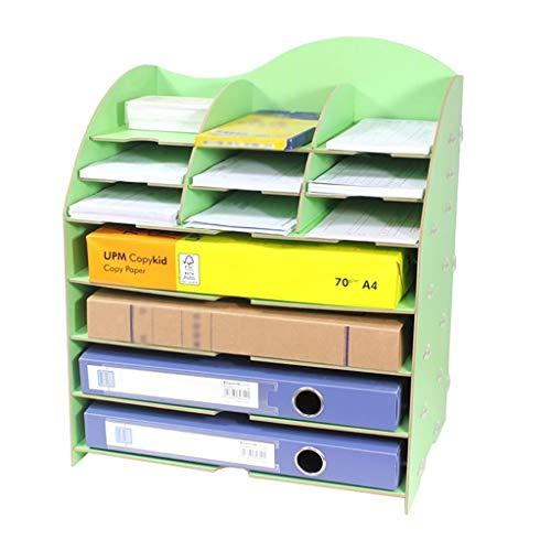 Bxwjg Houten Bestand Opslag, Desktop Opbergdoos Lade Bureau briefpapier Organisator Letter Bestanden Rack Documenten Houder Desktop Organizer-7 Lagen