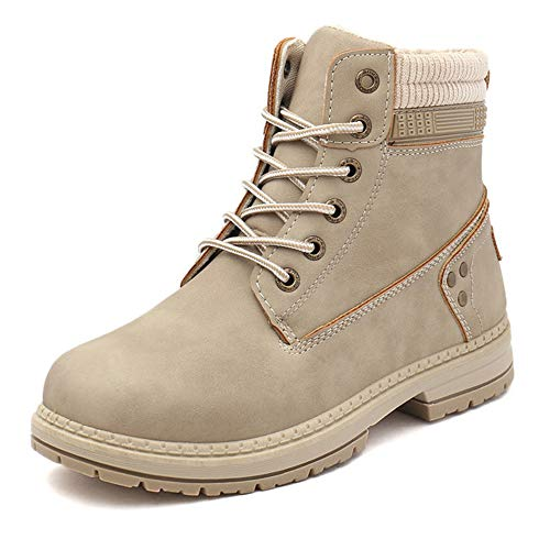 Women/Men's Outdoor Waterproof Lace-Up Ankle Work Boots (7 BM=Size 38, White97)