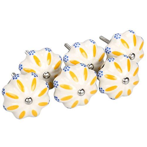 YeVhear - Set di 6 bottoni vintage in stile shabby chic con motivo floreale, dipinti a mano in ceramica, potiron e cassetti, maniglie per porta, maniglie a bottone, colore: Blu e Bianco