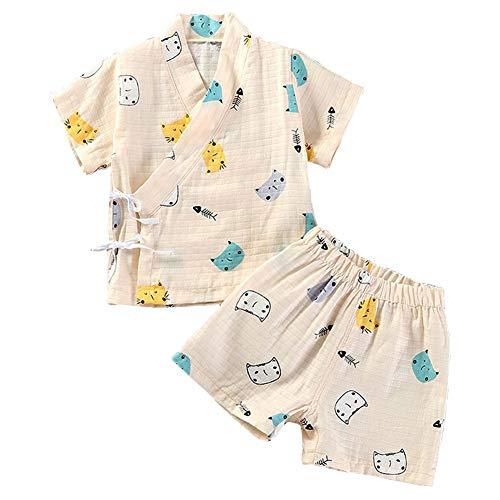 Pijama para Bebé Infantil Mono Algodón Kimono Estilo Japonés Ropa Camisa del Bebé Dormir Set Verano Japonesa Pijamas (Cat Yellow,110cm)