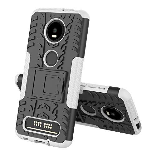 FanTings Capa para Motorola Moto Z4 Play, capa removível 2 em 1 à prova de choque [resistente a quedas] [alto impacto] [resistente] [TPU + PC] com capa protetora com função de suporte - branca