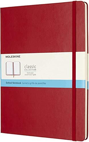 Moleskine Classic Notebook, Taccuino con Pagine Puntinate, Copertina Rigida e Chiusura ad Elastico, Formato XL 19 x 25 cm, Colore Rosso Scarlatto, 192 Pagine