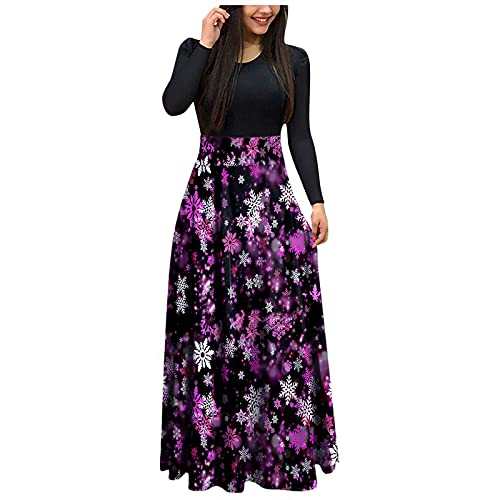 Christmas Maxi Dresses for Women, Crewneck Long Sleeve Patchwork High Waist Corset Gowns, Fashion Casual Party Dress Purple